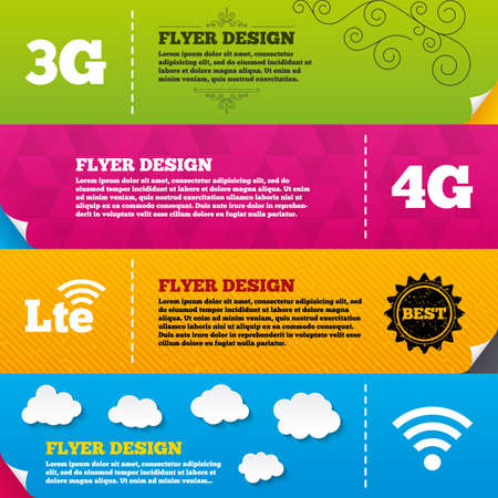 three generations: Flyer brochure designs. Mobile telecommunications icons. 3G, 4G and LTE technology symbols. Wi-fi Wireless and Long-Term evolution signs. Frame design templates. Vector Illustration