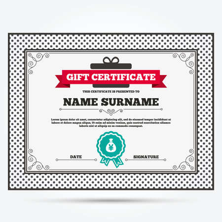 jpy: Gift certificate. Money bag sign icon. Yen JPY currency symbol. Template with vintage patterns. Vector