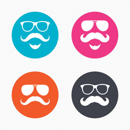 facial hair: Circle buttons. Mustache and Glasses icons. Hipster with beard symbols. Facial hair signs. Seamless squares texture. Vector Illustration