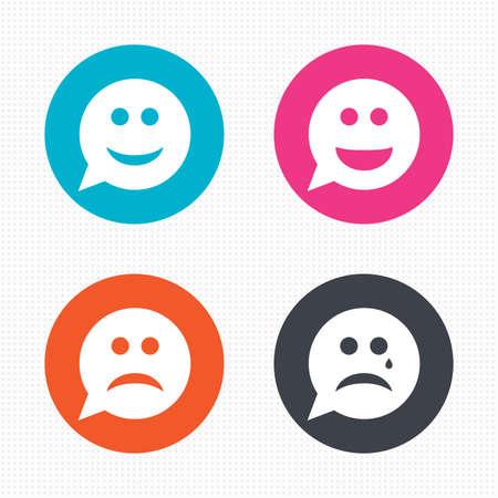 cara triste: Botones de círculo. Burbuja del discurso iconos cara de la sonrisa. Feliz, triste, llorar signos. Feliz símbolo de chat sonriente. La tristeza y la depresión signos de llanto. Perfecta textura cuadrados. Vector Vectores