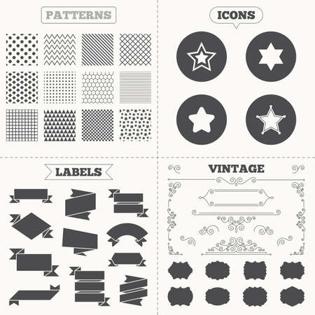 yiddish: Seamless patterns. Sale tags labels. Star of David icons. Sheriff police sign. Symbol of Israel. Vintage decoration. Vector