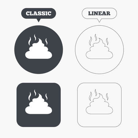 feces: Feces sign icon. Clean up after pets symbol. Put it in the bag. Classic and line web buttons. Circles and squares. Vector Illustration