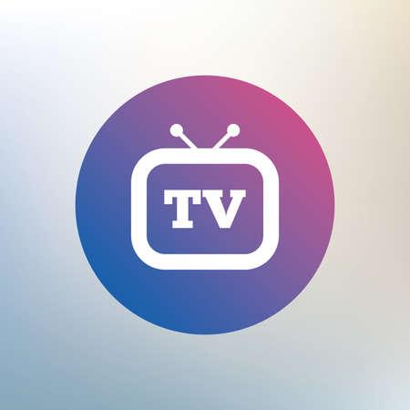 set de television: Retro icono de signo de TV. Televisi�n s�mbolo. Icono en el fondo borroso. Vector