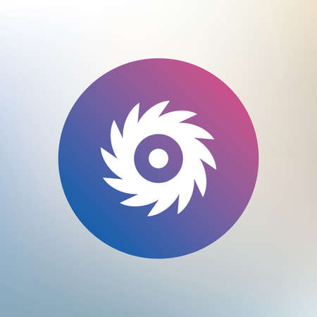 cutting blade: Sierra circular icono de signo de la rueda. Cortar s�mbolo cuchilla. Icono en el fondo borroso. Vector