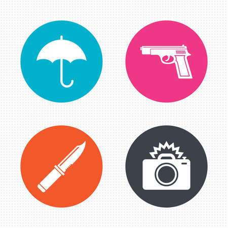 edged: Circle buttons. Gun weapon icon.Knife, umbrella and photo camera with flash signs. Edged hunting equipment. Prohibition objects. Seamless squares texture. Vector