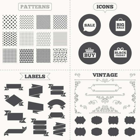 shopping sale: Seamless patterns. Sale tags labels. Sale speech bubble icons. Buy cart symbols. Black friday gift box signs. Big sale shopping bag. Vintage decoration. Vector Illustration