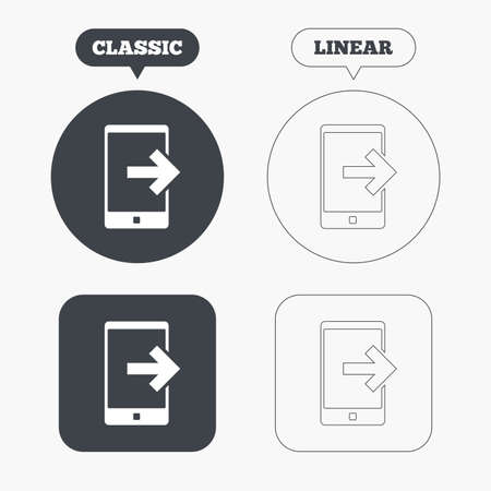 outcoming: Outcoming call sign icon. Smartphone symbol. Classic and line web buttons. Circles and squares. Vector