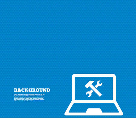 ultrabook: Background with seamless pattern. Laptop repair sign icon. Notebook fix service symbol. Triangles texture. Vector Illustration