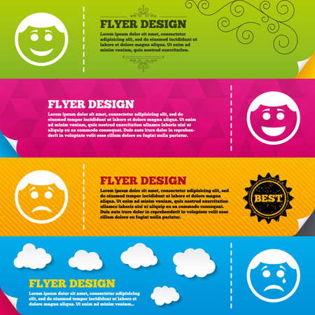 smile face: Flyer brochure designs. Circle smile face icons. Happy, sad, cry signs. Happy smiley chat symbol. Sadness depression and crying signs. Frame design templates. Vector