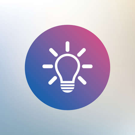 idea symbol: Light lamp sign icon. Idea symbol. Light is on. Icon on blurred background. Vector Illustration