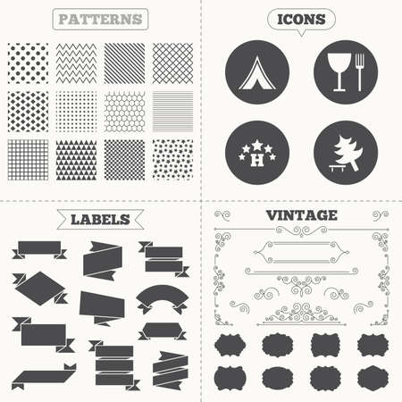 break down: Seamless patterns. Sale tags labels. Food, hotel, camping tent and tree icons. Wineglass and fork. Break down tree. Road signs. Vintage decoration. Vector