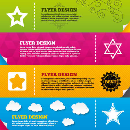 yiddish: Flyer brochure designs. Star of David icons. Sheriff police sign. Symbol of Israel. Frame design templates. Vector