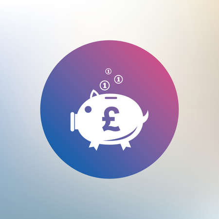 pound symbol: Piggy bank sign icon. Moneybox pound symbol. Icon on blurred background. Vector