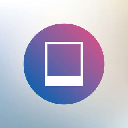 photography frame: Photo frame template sign icon. Empty photography symbol. Icon on blurred background. Vector