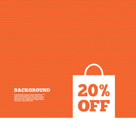 orange texture: Background with seamless pattern. 20% sale bag tag sign icon. Discount symbol. Special offer label. Triangles orange texture. Vector