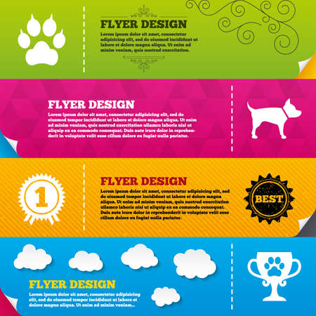 clutches: Flyer brochure designs. Pets icons. Cat paw with clutches sign. Winner cup and medal symbol. Dog silhouette. Frame design templates. Vector