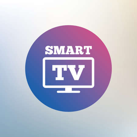 widescreen: Widescreen Smart TV sign icon. Television set symbol. Icon on blurred background. Vector