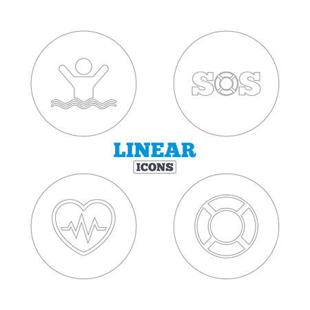 SOS lifebuoy icon. Heartbeat cardiogram symbol. Swimming sign. Man drowns. Linear outline web icons. Vector