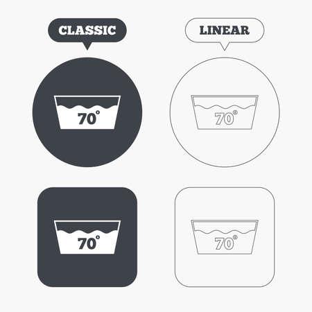 washable: Icono Wash. Lavable a m�quina a 70 grados s�mbolo. Botones cl�sicos y l�nea web. C�rculos y cuadrados. Vector