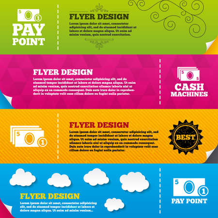 withdrawals: Flyer brochure designs. Cash and coin icons. Cash machines or ATM signs. Pay point or Withdrawal symbols. Frame design templates. Vector