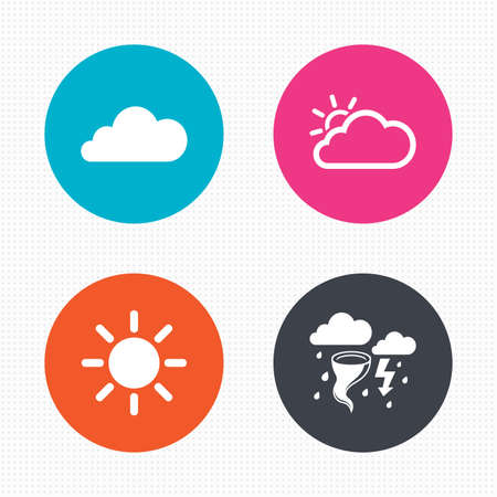 gale: Circle buttons. Weather icons. Cloud and sun signs. Storm or thunderstorm with lightning symbol. Gale hurricane. Seamless squares texture. Vector