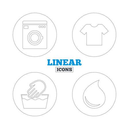 washable: Icono de la m�quina de lavado. Lavado a mano. T-shirt ropa s�mbolo. Lavadero Servicio de lavander�a y gota de agua signos. No es lavable a m�quina. Iconos de la web de contorno lineales. Vector Vectores