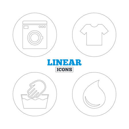 washhouse: Wash machine icon. Hand wash. T-shirt clothes symbol. Laundry washhouse and water drop signs. Not machine washable. Linear outline web icons. Vector Illustration