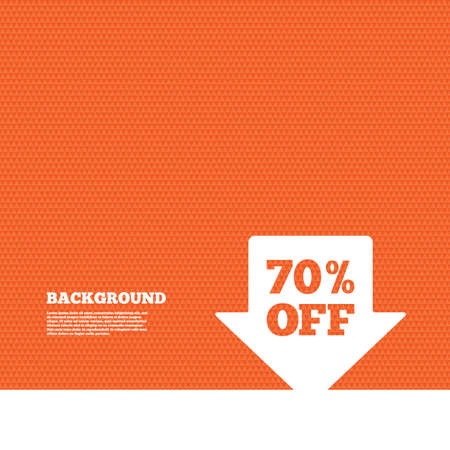 orange texture: Background with seamless pattern. 70% sale arrow tag sign icon. Discount symbol. Special offer label. Triangles orange texture. Vector