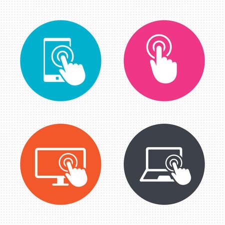 Kreis-Schaltflächen. Touch-Screen-Smartphone Symbole. Hand Zeigersymbole. Notebook oder Laptop-PC-Zeichen. Nahtlose Quadrate Textur. Vektor