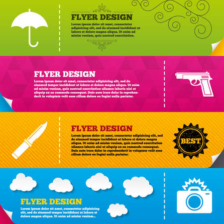 edged: Flyer brochure designs. Gun weapon icon.Knife, umbrella and photo camera with flash signs. Edged hunting equipment. Prohibition objects. Frame design templates. Vector