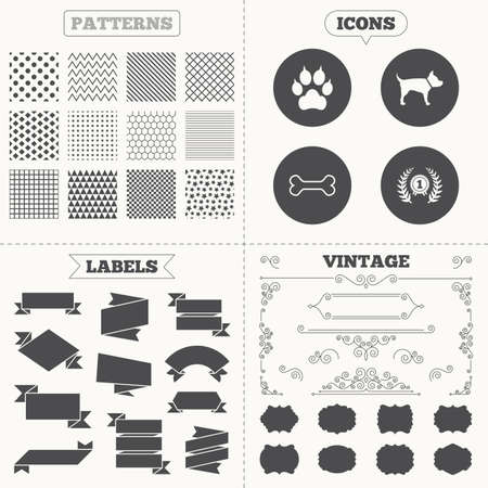 clutches: Seamless patterns. Sale tags labels. Pets icons. Cat paw with clutches sign. Winner laurel wreath and medal symbol. Pets food. Vintage decoration. Vector Illustration