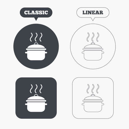 boil: Cooking pan sign icon. Boil or stew food symbol. Classic and line web buttons. Circles and squares. Vector
