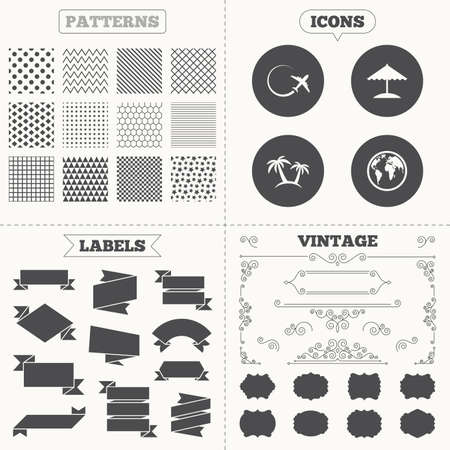 airplane world: Seamless patterns. Sale tags labels. Travel trip icon. Airplane, world globe symbols. Palm tree and Beach umbrella signs. Vintage decoration. Vector