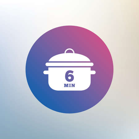 boil: Boil 6 minutes. Cooking pan sign icon. Stew food symbol. Icon on blurred background. Vector Illustration
