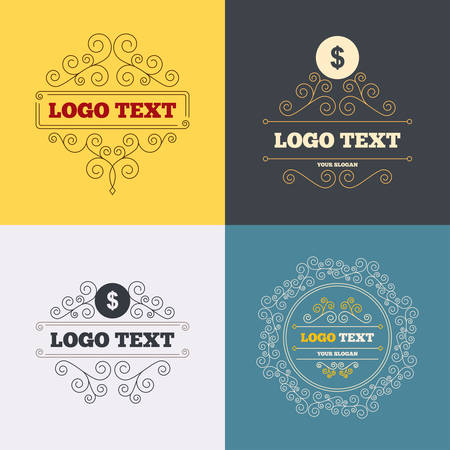 usd: Vintage flourishes calligraphic. Dollars sign icon. USD currency symbol. Money label. Luxury ornament lines. Vector