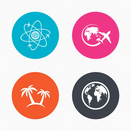 airplane world: Circle buttons. Travel trip icon. Airplane, world globe symbols. Palm tree sign. Travel round the world. Seamless squares texture. Vector Illustration