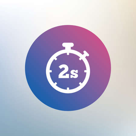 seconds: Timer 2 seconds sign icon. Stopwatch symbol. Icon on blurred background. Vector