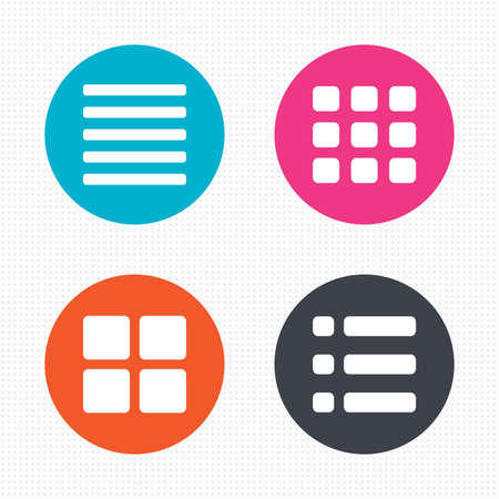 grid: Circle buttons. List menu icons. Content view options symbols. Thumbnails grid or Gallery view. Seamless squares texture. Vector