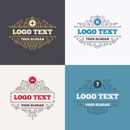 enlarge: Flourishes calligraphic emblems. Plus and minus icons. Delete and question FAQ mark signs. Enlarge zoom symbol. Luxury ornament lines. Vector Illustration