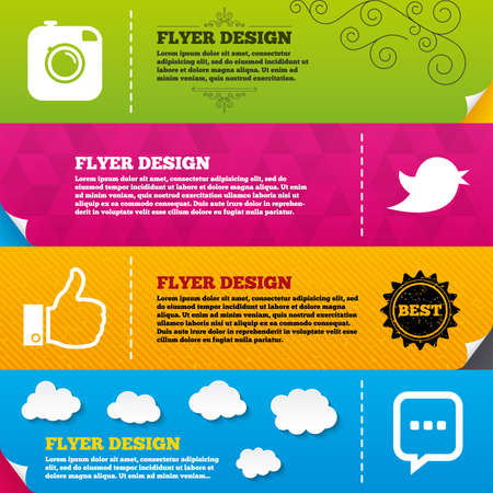 chat up: Flyer brochure designs. Hipster photo camera icon. Like and Chat speech bubble sign. Hand thumb up. Bird symbol. Frame design templates. Vector Illustration