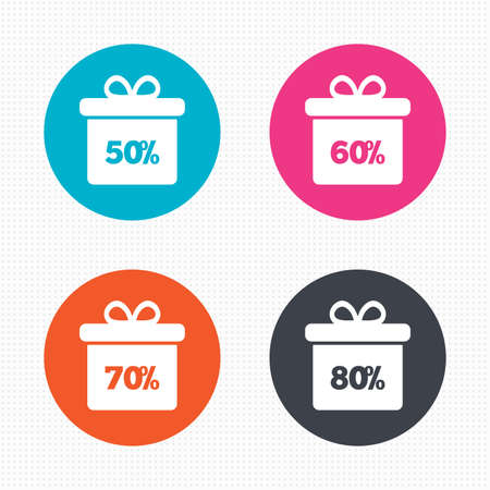 60 70: Circle buttons. Sale gift box tag icons. Discount special offer symbols. 50%, 60%, 70% and 80% percent discount signs. Seamless squares texture. Vector