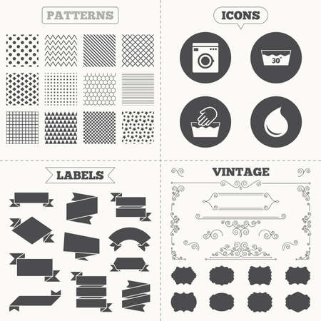 washhouse: Seamless patterns. Sale tags labels. Hand wash icon. Machine washable at 30 degrees symbols. Laundry washhouse and water drop signs. Vintage decoration. Vector