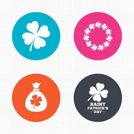 clover buttons: Circle buttons. Saint Patrick day icons. Money bag with clover sign. Wreath of quatrefoil clovers. Symbol of good luck. Seamless squares texture. Vector