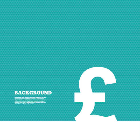 gbp: Background with seamless pattern. Pound sign icon. GBP currency symbol. Money label. Triangles green texture. Vector