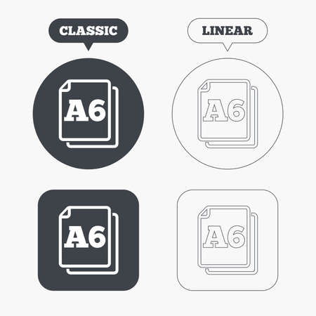 a6: Paper size A6 standard icon. File document symbol. Classic and line web buttons. Circles and squares. Vector Illustration