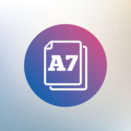 a7: Paper size A7 standard icon. File document symbol. Icon on blurred background. Vector