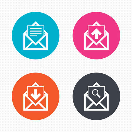 webmail: Circle buttons. Mail envelope icons. Find message document symbol. Post office letter signs. Inbox and outbox message icons. Seamless squares texture. Vector