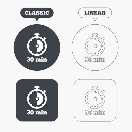 web2: Timer sign icon. 30 minutes stopwatch symbol. Classic and line web buttons. Circles and squares. Vector