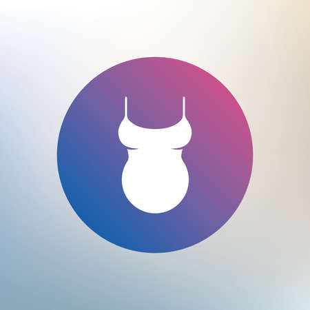 big breast: Pregnant woman shirt sign icon. Maternity symbol Icon on blurred background. Vector