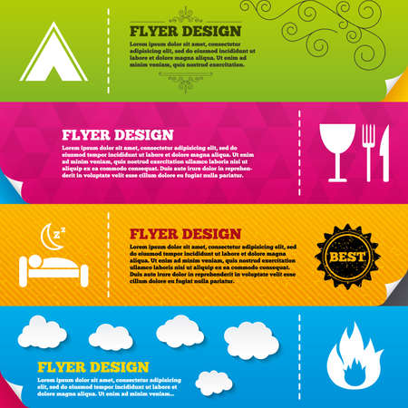 breakfast in bed: Flyer brochure designs. Food, sleep, camping tent and fire icons. Knife, fork and wineglass. Hotel or bed and breakfast. Road signs. Frame design templates. Vector Illustration
